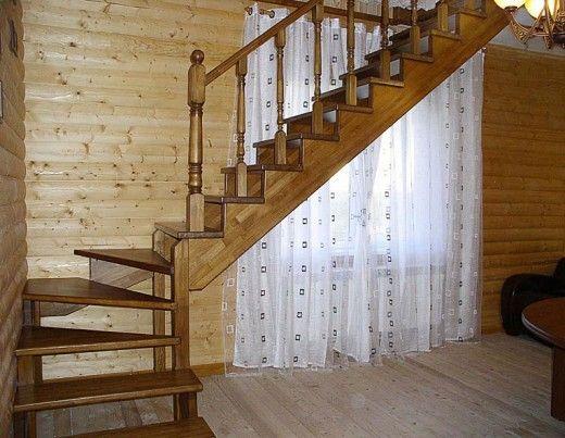 Изготовление лестницы с поворотом из дерева своими руками